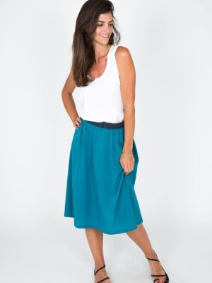 green and dark blue skirt for women fashion capsule by juliette